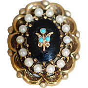 SALE -70%:14K Turquoise Onyx Pendant Pin, Pristine