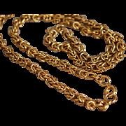 """Vintage Gold Tone 25"""" x .25"""" Fancy Chain Necklace"""