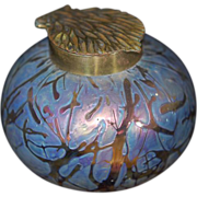 SALE Iridescent Bohemian Art Glass Ink Well Pulled Feather Lid