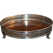 SALE -70%:Silver Gallery Tray Claw Foot Faux Rosewood Ex Cond