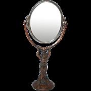 "Art Nouveau Standing ""Lady"" Dresser Top Mirror, 2 sided"
