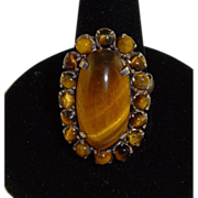 Vintage Oval Tiger Eye in Silver Setting Cocktail Style Ring