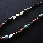 Handmade Wood Bead, Semiprecious Stone & Resin Necklace