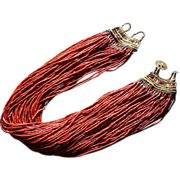 Antique Naga Tribal Red Glass Trade Bead Necklace