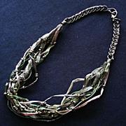 Bohemian Boho Chic Multistrand Handmade Necklace with Raffia, Ribbon, Thread, Beads, Chain