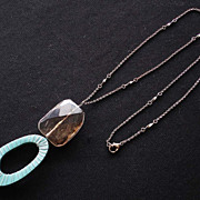 Gray Crystal Semiprecious and Raffia and Wire Wrapped Pendant Necklace