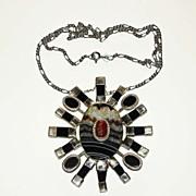 "Vintage Silver, Black ""Salt"" Onyx & Coral ""Sun"" Pendant"