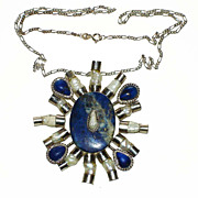 "Vintage Silver, Lapis Lazuli & Mother of Pearl ""Sun"" Pendant"