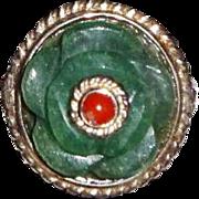 "Vintage Indian Silver & Aventurine Indian Jade Semiprecious ""Swirl"" Ring"