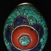 Vintage Tibetan Style Silver, Turquoise, Coral & Lapis Ring