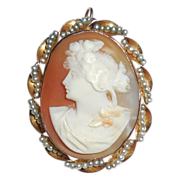 Antique Edwardian 10K Gold Pearl Wrapped Carved Shell Cameo Pendant Pin