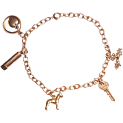 Art Deco 14K Gold BA Ballou Symbolic Love Charm Bracelet