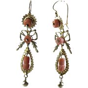Antique Victorian 14k Gold Angelskin Coral Fancy Dangle Earrings