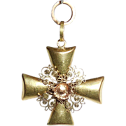 Antique Victorian 14K Yellow and Rose Gold Fancy Rose of Sharon Cross Pendant