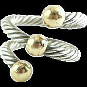 Vintage Sterling Silver 14k Gold Cable Twist Ring Adjustable Size 5 6 7