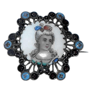 Antique Victorian Hand Painted Enameled Hallmarked Portrait Pin