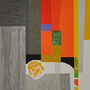 "SOLD Seong Moy Color Silkscreen Titled ""Cape Cod Interior"""