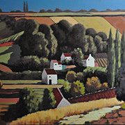 SOLD Beautiful Country Landscape Signed by Artist, Late 20th Century