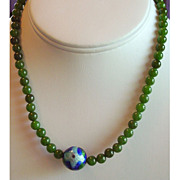 SALE SAKS Jade Beads with Art Glass Center Piece 15.5 Inches