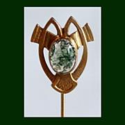 SALE Moss Agate Stick Pin in 10K Gold