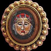 SALE Micro Mosaic Miniature Hag Portrait Pin / Pendant Very Rare