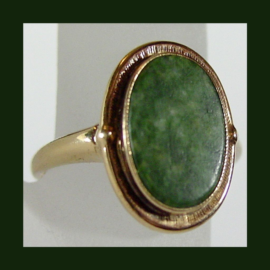antique jade ring in 10k yg size 5 1 4 from rubylane sold