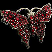 SOLD Victorian Bohemian Garnet Butterfly Pin