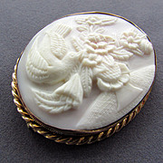 SALE 8K YG Hand Carved Cameo Brooch with Bird and Vase of Flowers