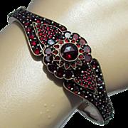 SALE Late Victorian Bohemian Garnet Hinged Bangle Size 7