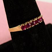 SALE 14K YG Ruby Band Ring Size 8 1/4