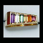 14K Yellow Gold Multi-Gemstone Ring Size 6