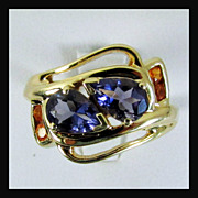 14K Yellow Gold Ring with Fine Iolite Gems and Mandarin Garnets, Size 8