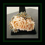 SALE 14K Jack Gutschneider Designer Carved Angel Skin Coral Peony Brooch