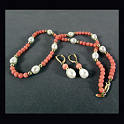 "SALE 14K Set with Coral & Cultured Pearls - 18"" Necklace & Earrings"