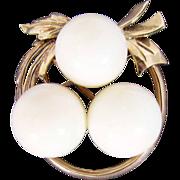 SALE 18K Rose Gold White/Angel Skin Coral Bead Pin