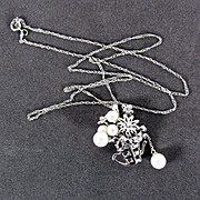 SALE NOS 14K White Gold Necklace with Cultured Pearl Pendant & 18 Inch Chain