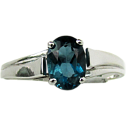SALE London Blue Topaz Ring Size 8.25 in 10K White Gold