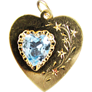 SALE 14K Yellow Gold Blue Topaz Heart Pendant