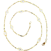 14K Yellow and White Gold Necklace, 18 Inches