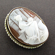 SALE Lady at Temple - Carved Shell Cameo Pendant & Brooch 14K Yellow Gold