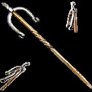 SALE Platinum Mechanical Spur Stick Pin with 9K Stem