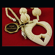 SALE NOS Hand Carved Bone Necklace with 2 Fish Forming Heart by Eva Graham