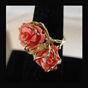 SALE Hand Carved Natural  Coral Roses in 18K Yellow Gold Ring Size 8