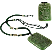 SALE Necklace with Large, Natural Jadeite Double Sided Pendant with Horse & Dragon