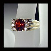 14K Yellow Gold Madeira Citrine and Diamond Ring Size 5 1/4