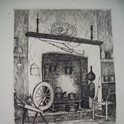 Willie Lucille Reed Rowe, My Studio Kitchen  New Orleans etching