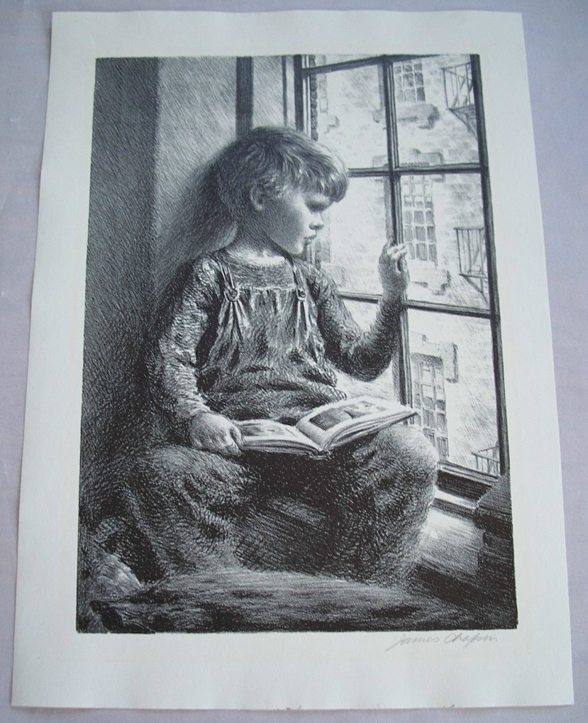 "Aaa Insurance Ma >> James Chapin""Child at Window"" AAA Original litho from forgevillagefinearts on Ruby Lane"
