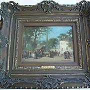 """Platt Powell Ryder 1821- 1896  """" Village Square"""" oil"""