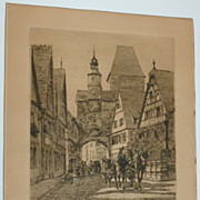 Ernst Haymann  Rothenburg etching