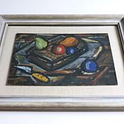 Modernist Still Life  1940 s  Oil Painting